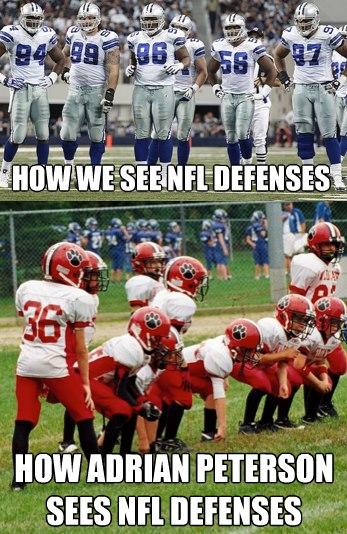 How we see nfl defenses how adrian peterson sees nfl defenses American Football Memes