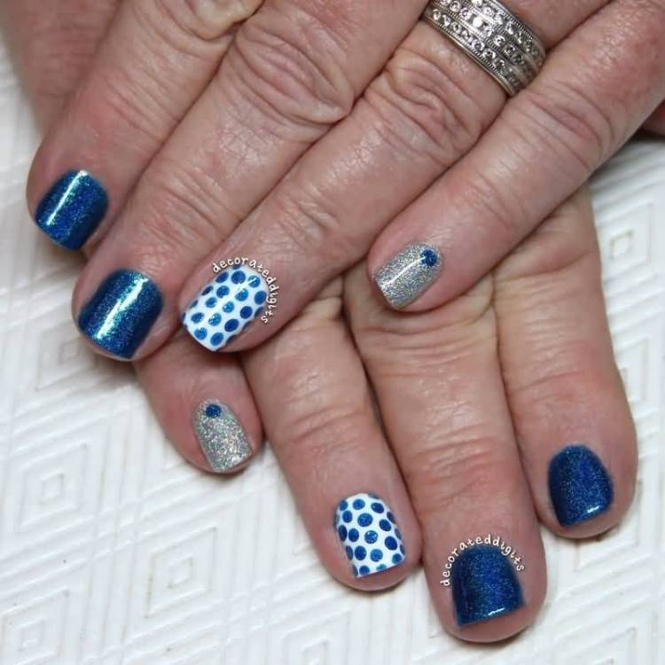 Incredible Blue And Silver Nails With Dotes