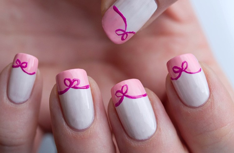 Incredible Bow Nails With Pink Paint