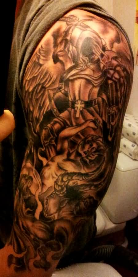 Incredible Hell Tattoo on Shoulder And arm for tattoo fans