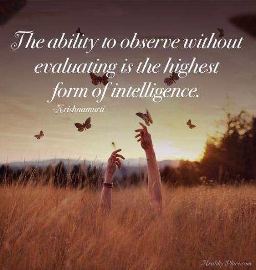 Intelligence Quotes the ability to observe without evaluating is the highest form of intelligence