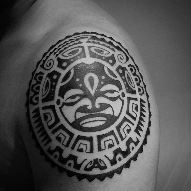 Latest Aztec Tattoo on Shoulder for Boys