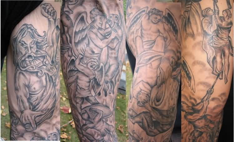 Lovely Hell Tattoo On Arm For Boys