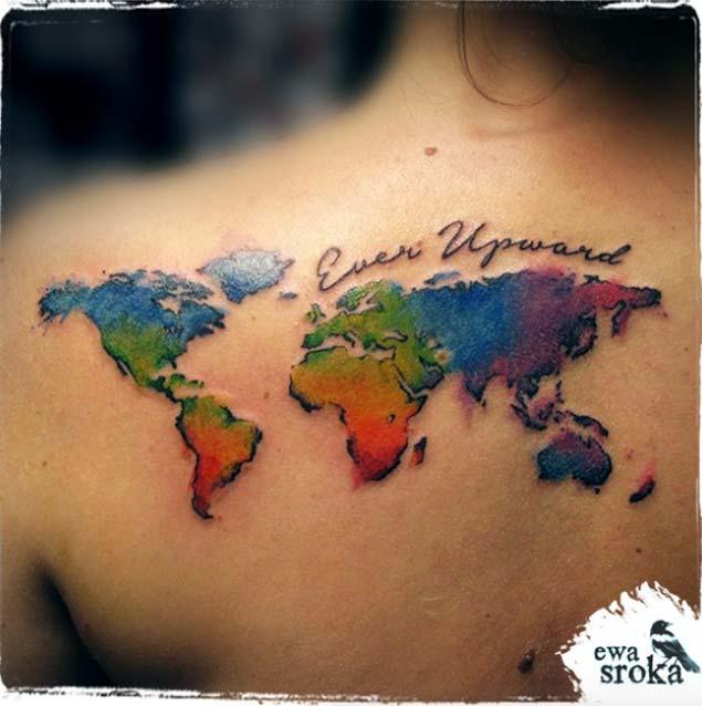 Lovely World Map Tattoo On Shoulder For women