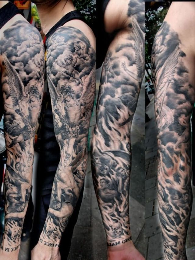 Marvelous Hell Tattoo On Arm for Boys