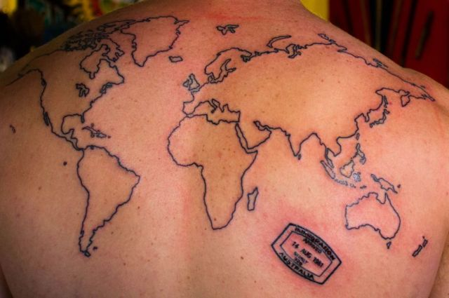 Marvelous World Map Tattoo On Back