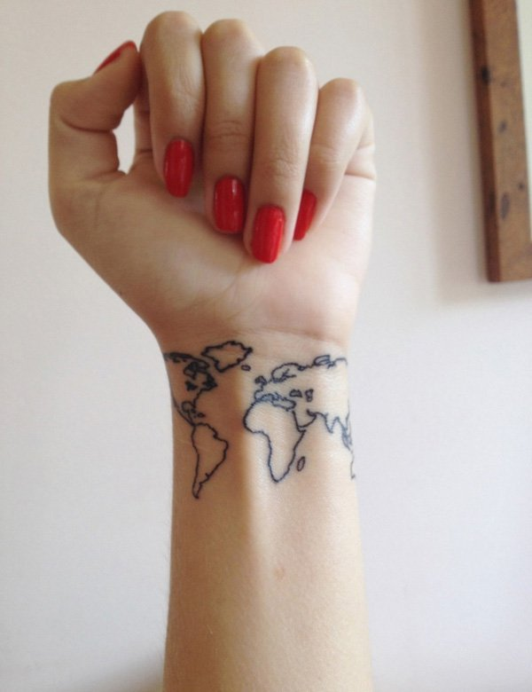 Mind Blowing World Map Tattoo For ARm