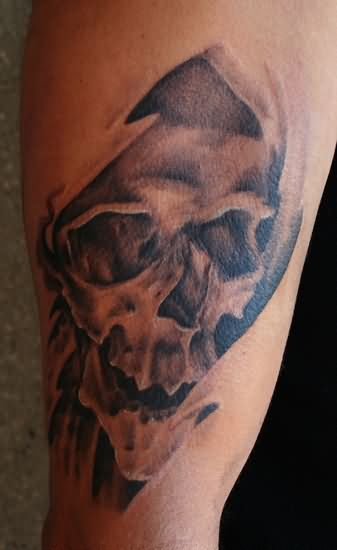 Out Standing Hell Tattoo on leg For Boys