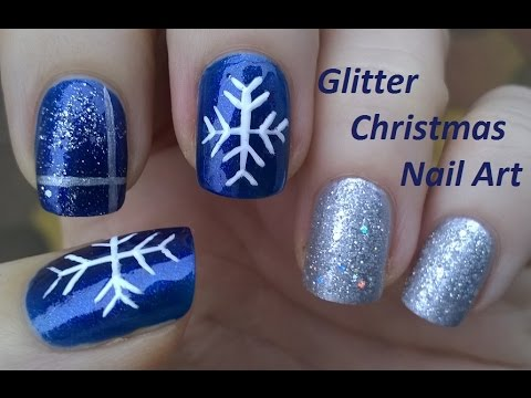 Phenomenal Blue And Silver Nails With Snow
