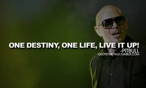 Singer Quotes one destiny one life live it up[