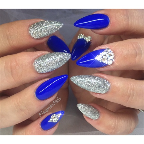 Stunning Blue And Silver Nails With Sharp Nail