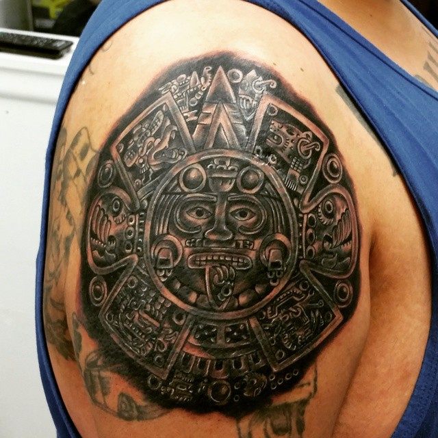 Terrific Aztec Tattoo On Shoulder For boys
