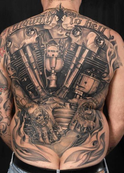 Terrific Hell Tattoo On back For men