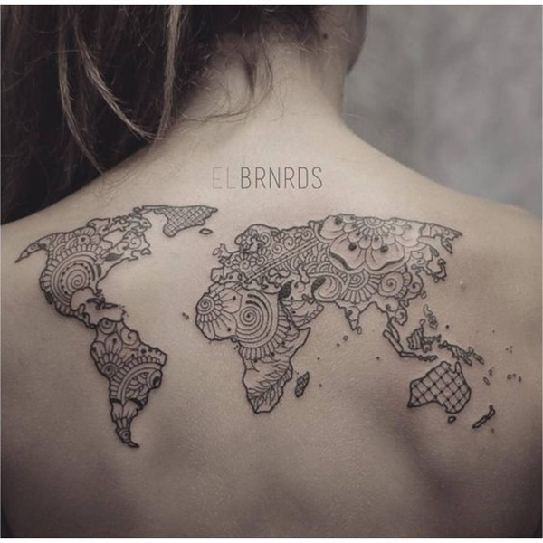 Terrific World Map Tattoo on Back for Women