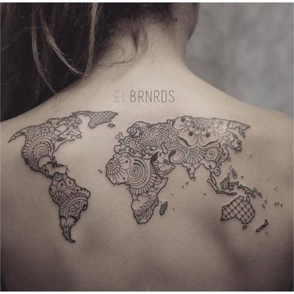 Terrific World Map Tattoo on Back for Women