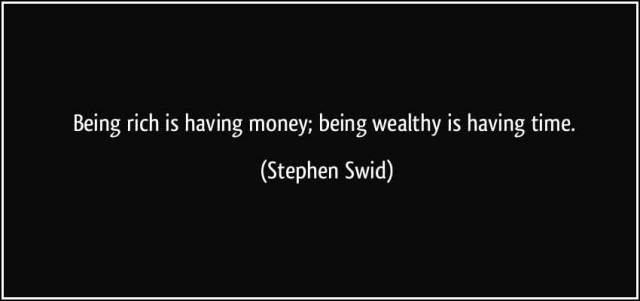 Time Quotes Being rich is having money being wealthy is having time Stephen Said