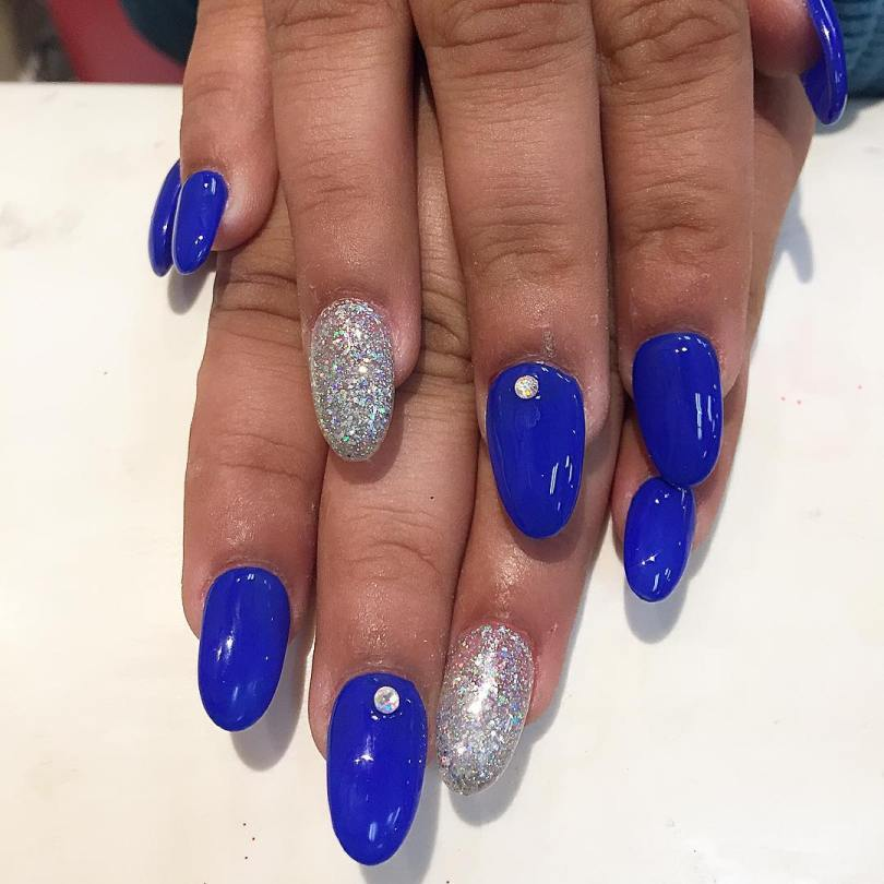Tremendous Blue Nails With Sparkling One