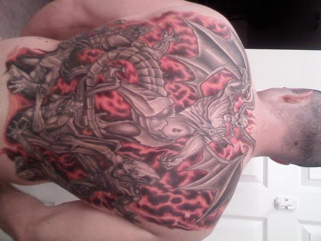 Trendy Hell Tattoo on Back With red Color