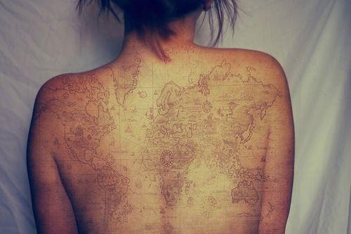 Trendy World Map Tattoo On Back full for women