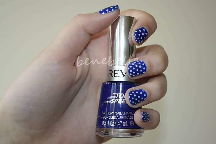 Unique Blue Nails With Dotted Design
