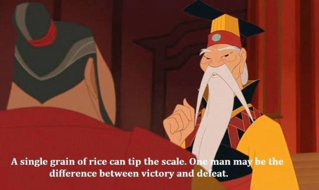 Victory Sayings a single grain of rice can tip the scale
