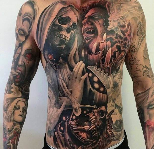Weird Hell Tattoo On Full body