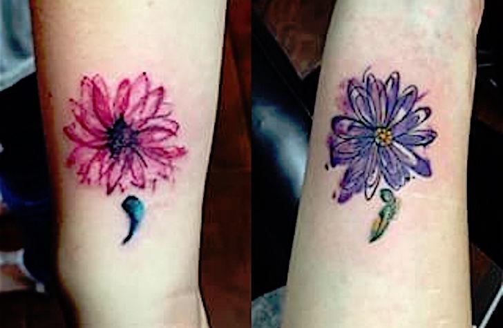 Weird Semicolon Tattoo Design  For Girls