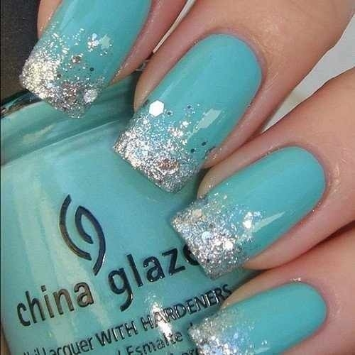 Wonderful Blue And Silver Nails With Silver Tip