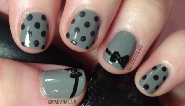 Wonderful Bow Nails With Polka Dot