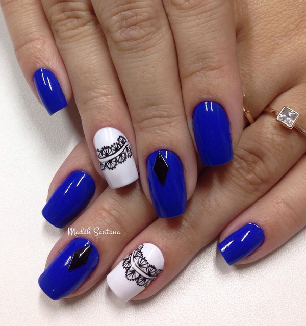 Wonderful With Nails With Blue Nails