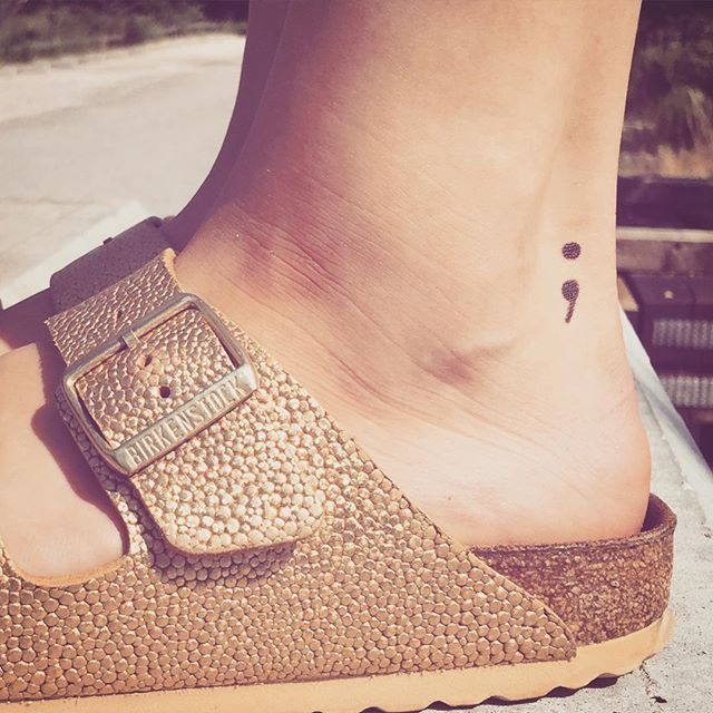best eVer Semicolon Tattoo Design On Foot