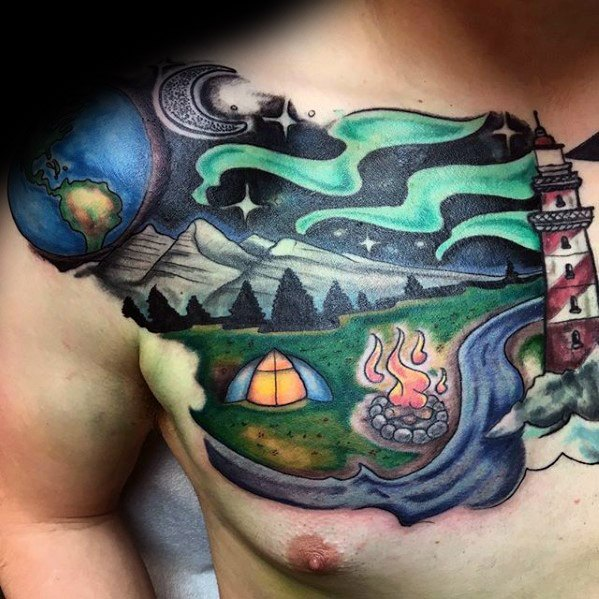 Beautiful Camping Tattoos On shoulder for boys