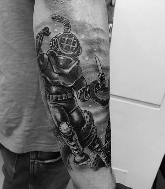 Beautiful Diver Tattoo On arm for Boys