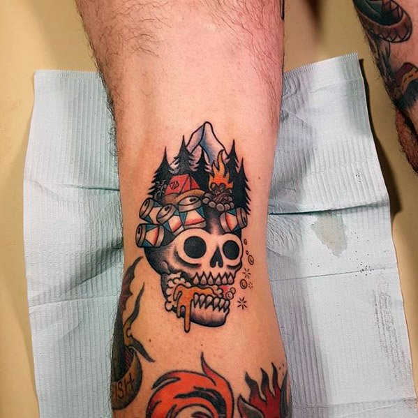 Best Ever Camping Tattoos On arm for Boy
