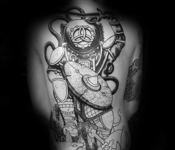 Best Ever Diver Tattoo On Back for mens