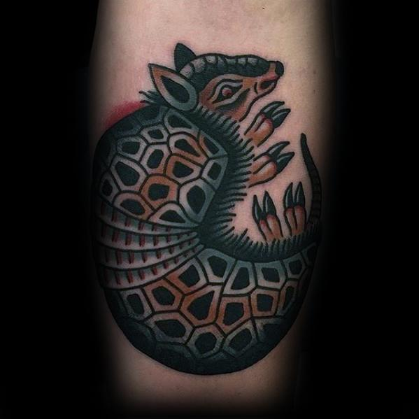 Best ever Armadillo Tattoo On leg for girls