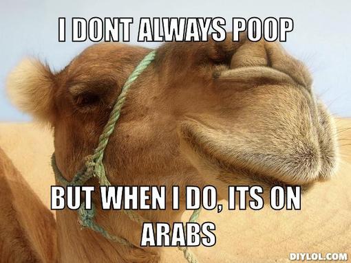 Camel Meme I don't always poop but when i do its on arabs