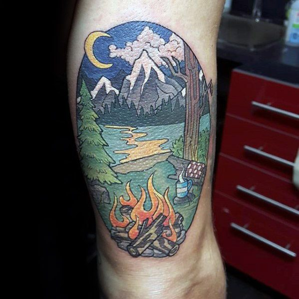 Cool Camping Tattoos For men's leg