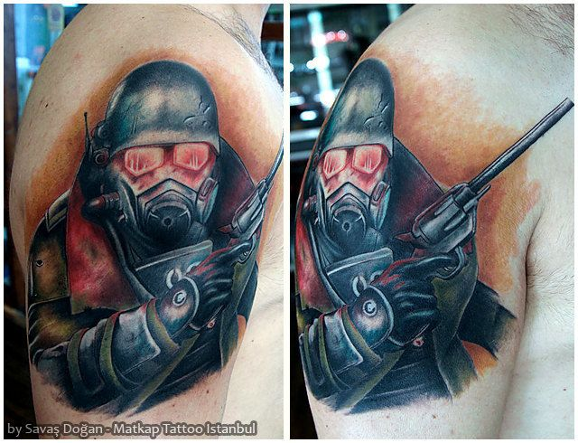 Cool Fallout Tattoo On sholder With Beautiful red color