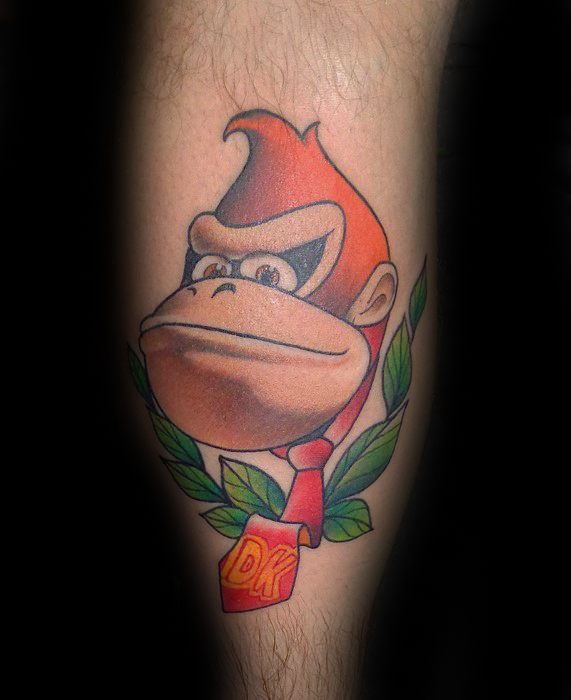 Coolest Donkey Kong Tattoo On leg for Boy