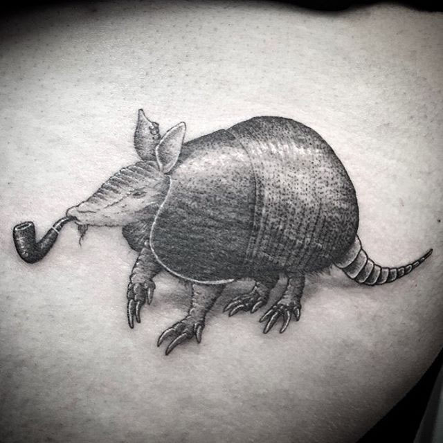 Crazy Armadillo Tattoo On Shoulder For Boys