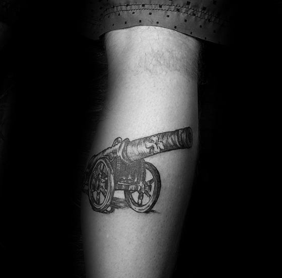 Crazy Cannon Tattoo On Arm for mens