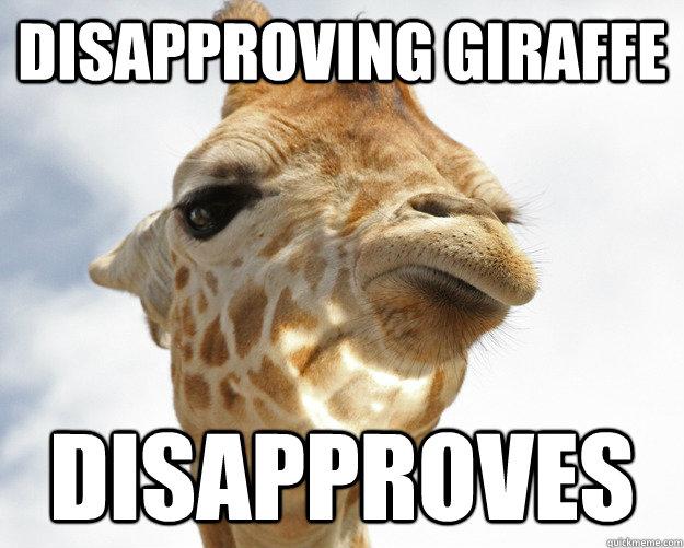 Disapproving giraffe disapproves Giraffe Meme