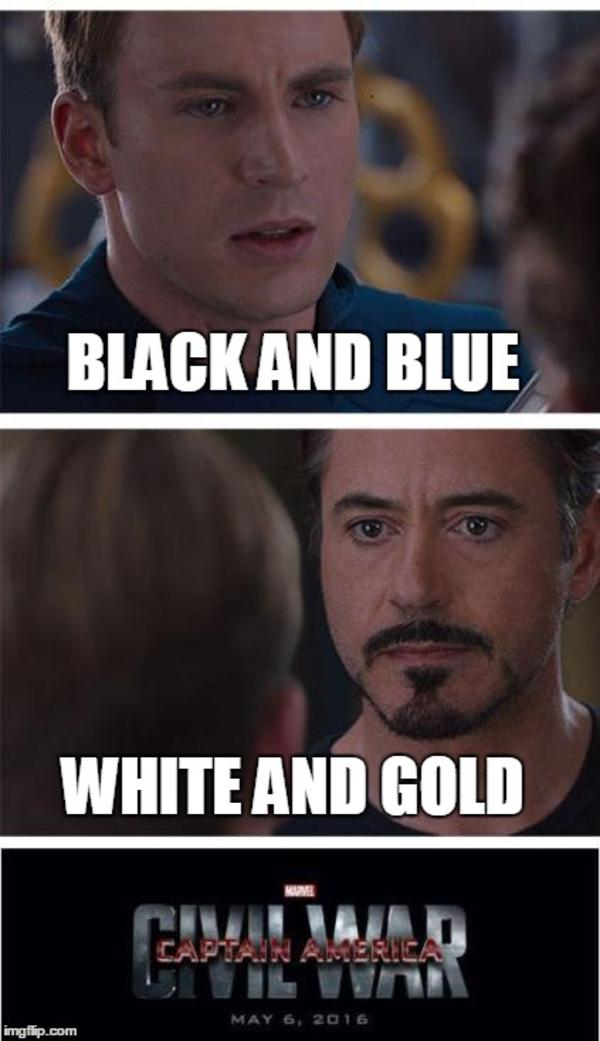 Dress Meme black and blue white and gold