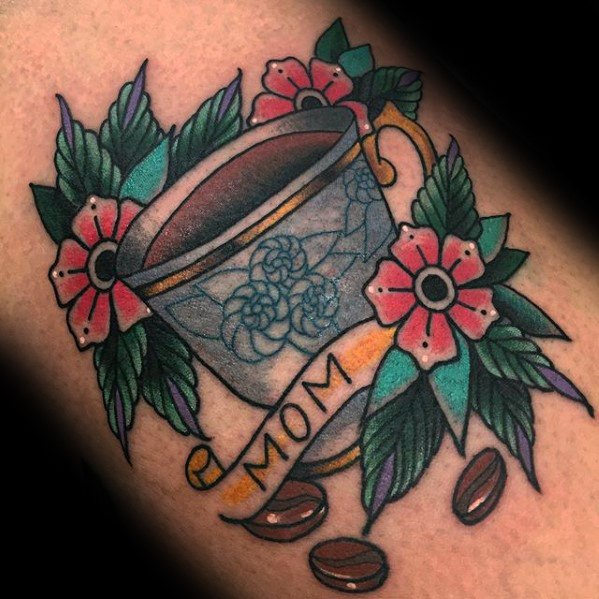 Elegant Coffee Cup Tattoo On Arm for For Men