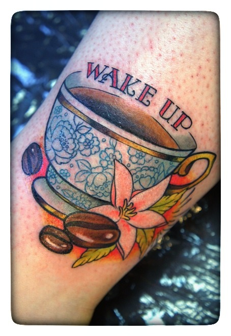 Fabulous Coffee Tattoo On leg For Girls