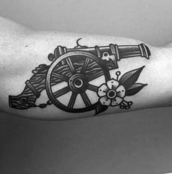 Great Cannon Tattoo On Arm for mens