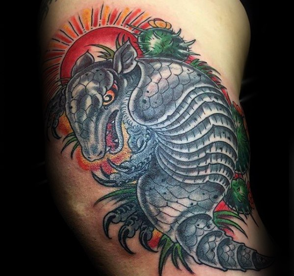 Groovy Armadillo Tattoo On shoulder For Men's