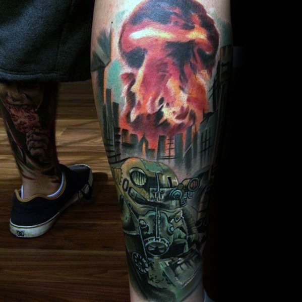 Groovy Fallout Tattoo On leg for tattoo fan