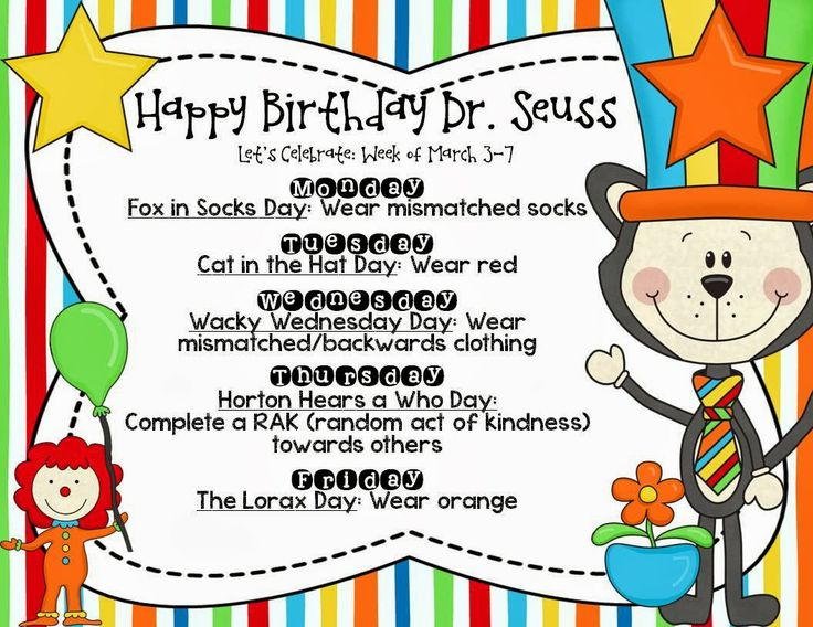 Happy Birthday Dr. Seuss Fox In Socks Day Wear Mismatched Socks Dr. Seuss